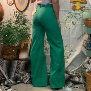 70s blue green high waisted disco flare trousers